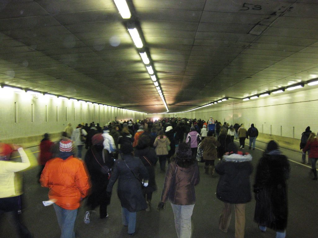 Walking on I-395 under the Mall