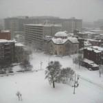 A snowbound Chinatown Park