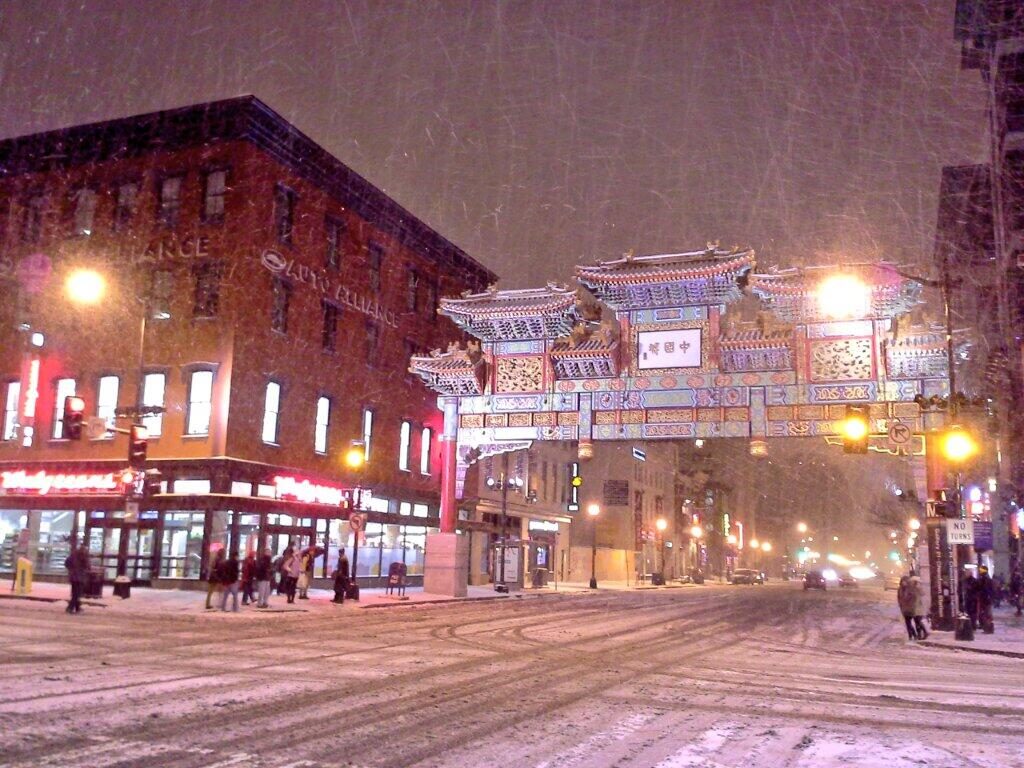 snowy 7th and h street nw penn quarter chinatown dc