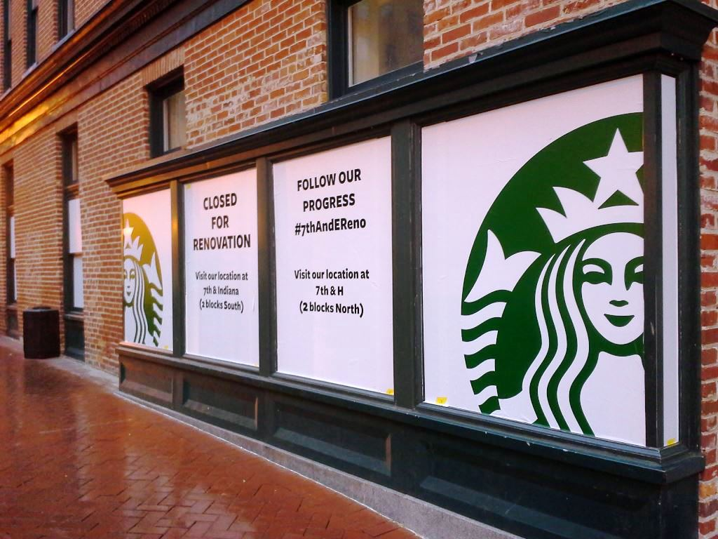 starbucks renovation 7th and e st nw