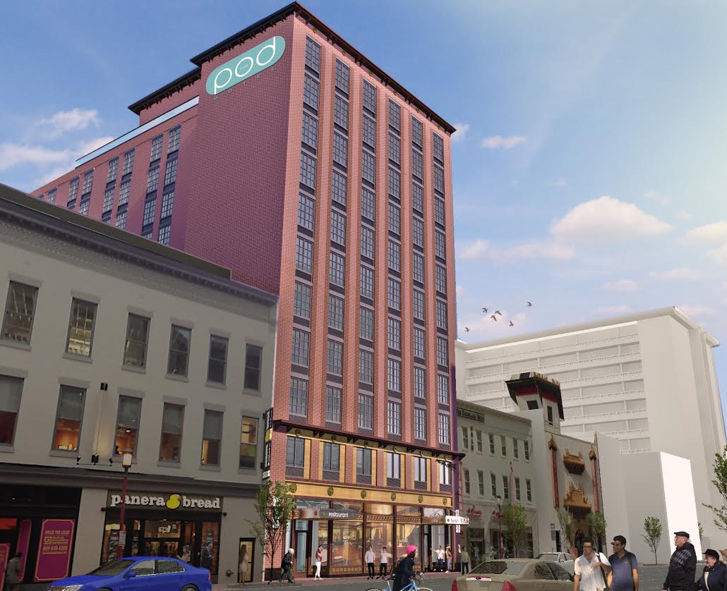 pod hotel chinatown washington dc 7th h street downtown rendering