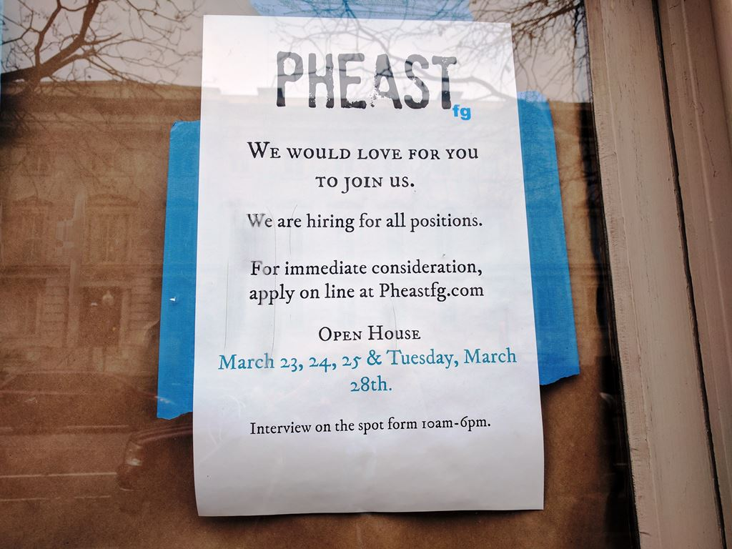 hen quarter washington dc penn restaurant help wanted sign