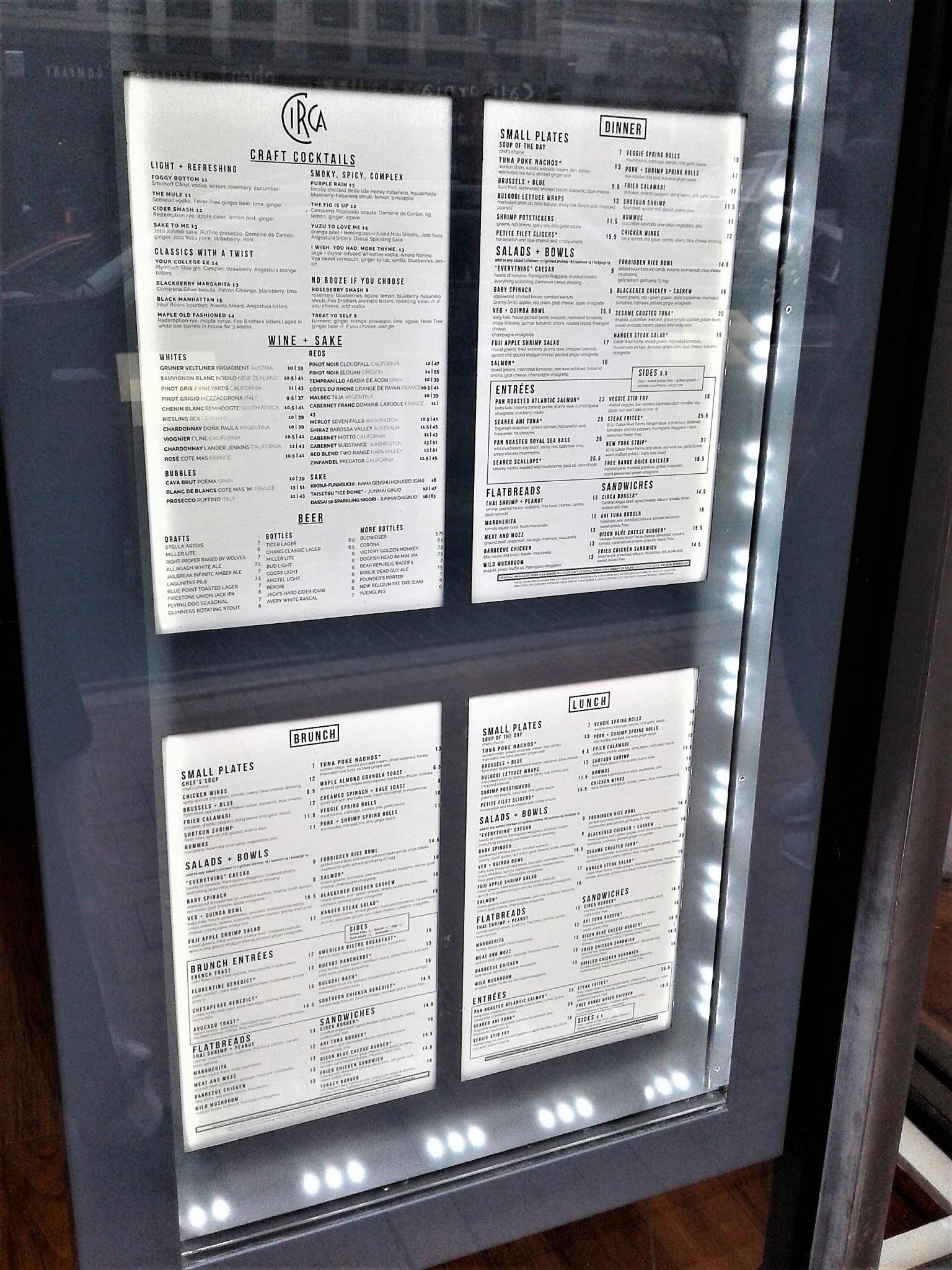 circa chinatown washington dc menu