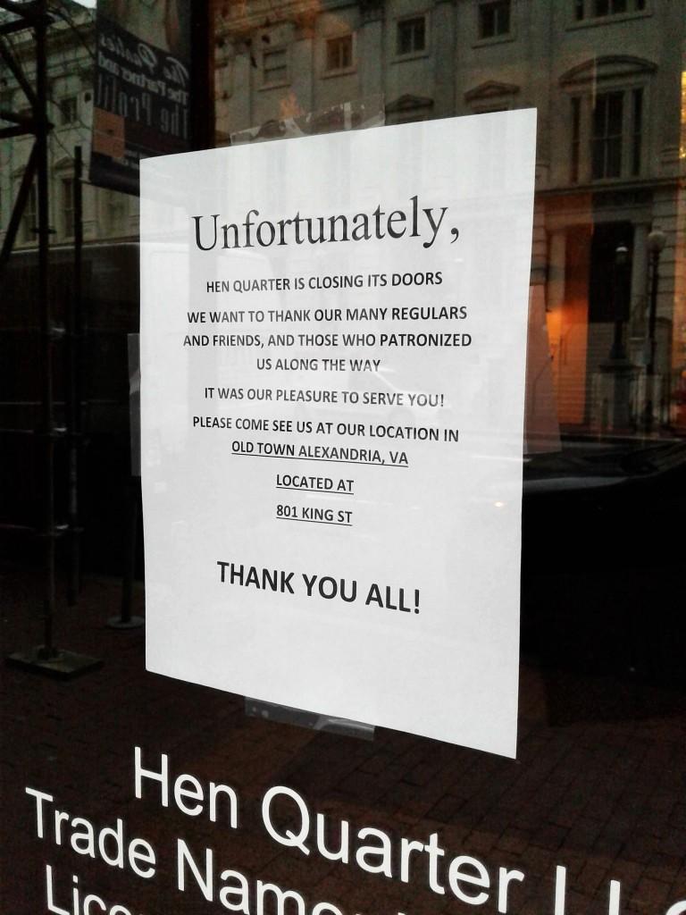 hen quarter closed penn quarter 750 e st nw notice